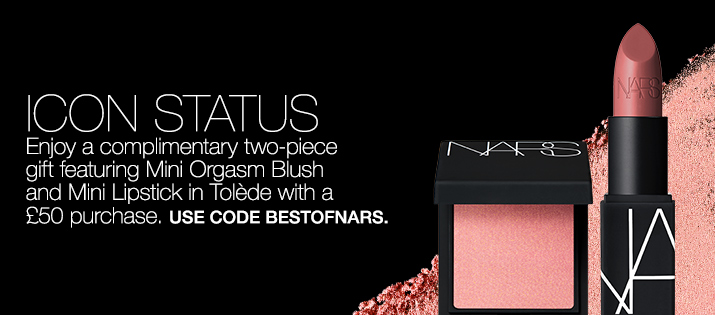 Icon Status. Enjoy a complimentary two-piece gift featuring Mini Orgasm Blush and Mini Lipstick in Tolède with a £50 purchase. use code BESTOFNARS.