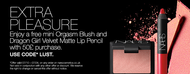 EXTRA PLEASURE Enjoy a free mini Orgasm Blush and Dragon Girl Velvet Matte Lip Pencil with 50£ purchase. USE CODE LUST.